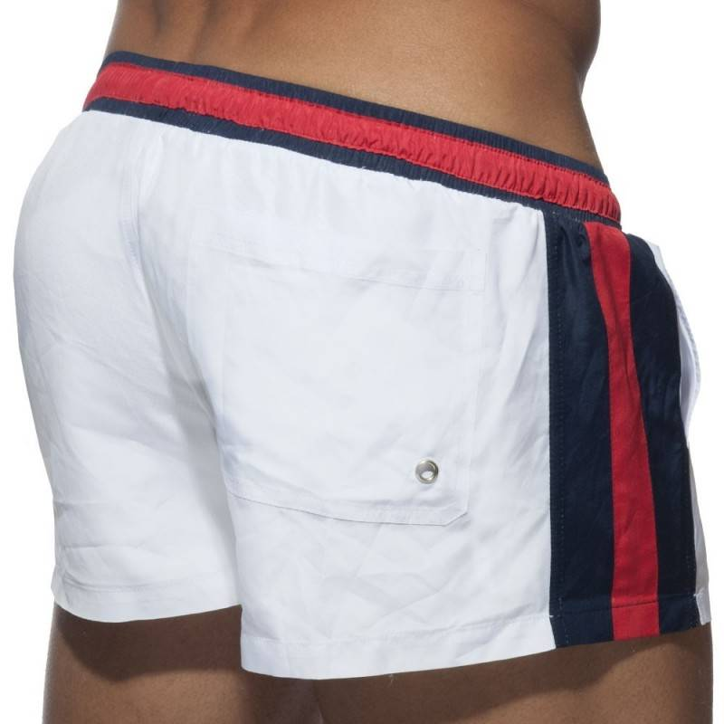 Addicted Short de Bain Basic Stripes Blanc