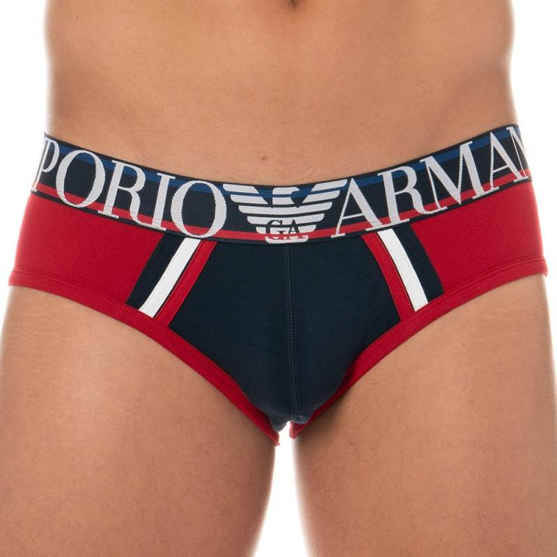 Emporio Armani Color Block Brief - Navy - Red