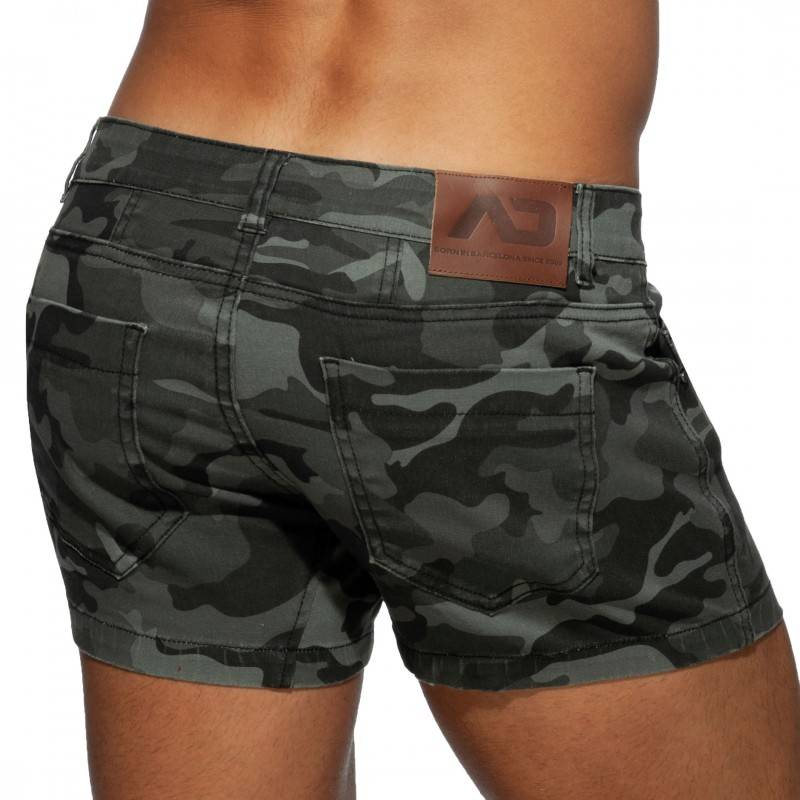 Addicted Short en Jeans Camouflage Gris