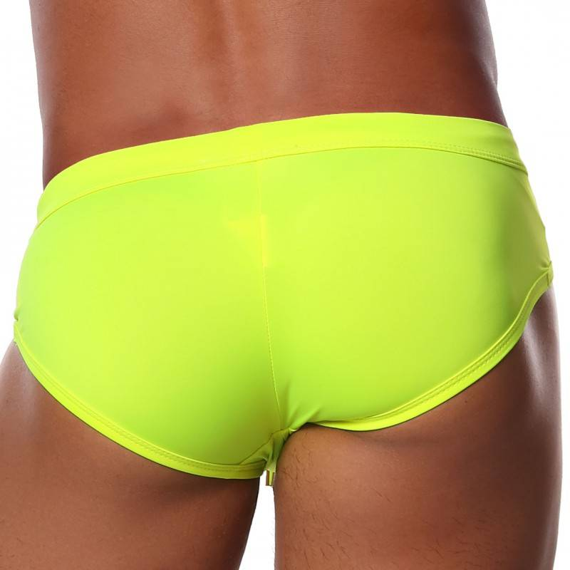 TOF Paris Slip de Bain Push Up Happy Jaune Fluo