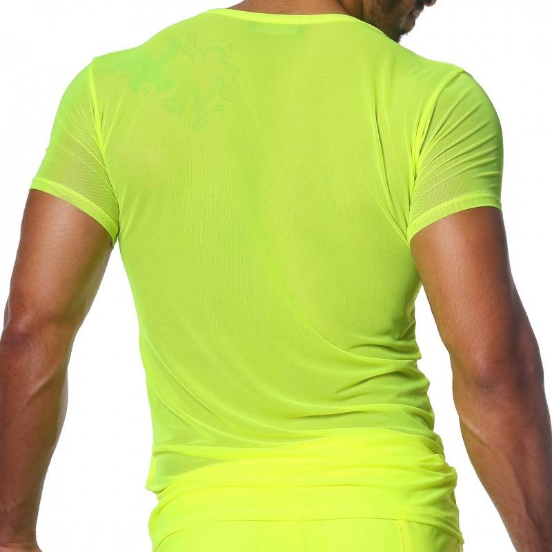 TOF Paris T-Shirt Happy Mesh Jaune Fluo