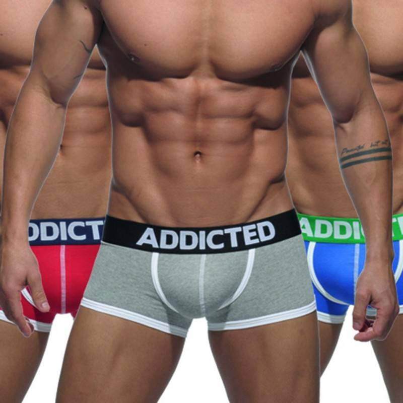 Addicted Lot de 3 Boxers Basic Rouge - Gris - Bleu